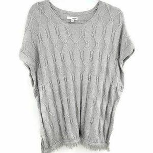 Sonoma Gray Kaftan Sweater Chunky Knit Square Fit